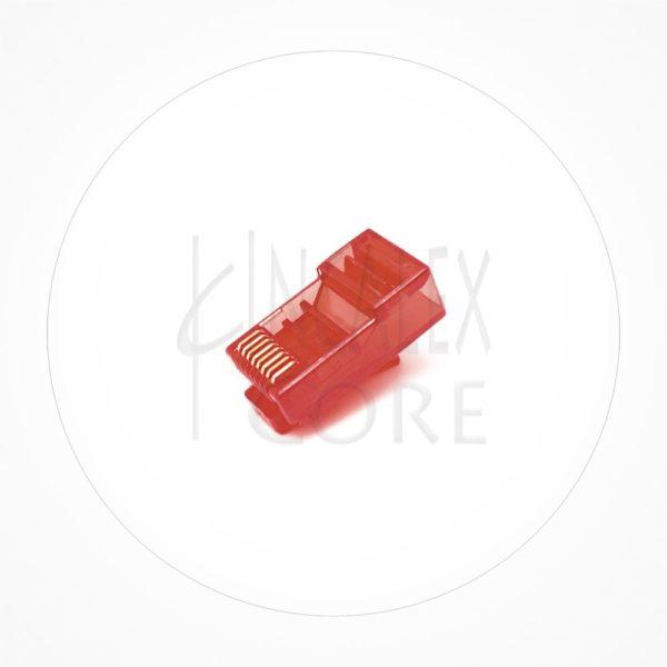 Conector Ethernet UTP Macho Rj45 Cat6 Rojo